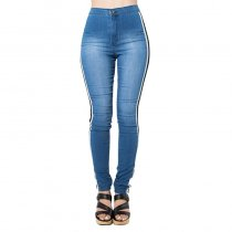 Bleach Wash Side Stripe High Quality Jeans