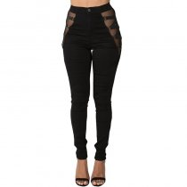 High Rise Skinny Jeans with Side Strap Up
