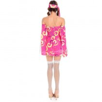 Pink Swirl Hippie Womens Costume