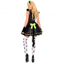 Black and Green Furry Cat Dress Costume