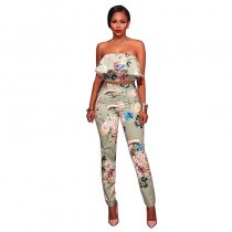 Kalifa Sage Green Multi-Color Floral Print Two Piece Set