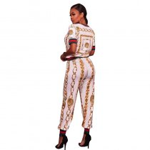 Mayfair Yellow Chain Print Two Piece Jogger Set