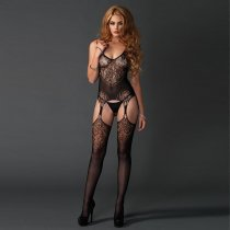 Seamless Jacquard Lace Black Bodystocking