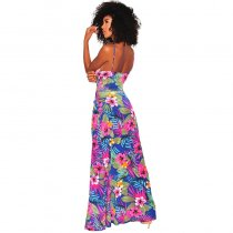 Aqua Pink Palm Print Tie Up Slit Maxi Dress
