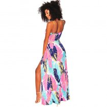 Navy Blue Tropical Tie Up Slit Maxi Dress