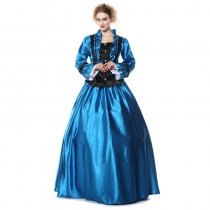 Civil War Period Ball Gown Costume Dress Blue Black Satin M-XL Hoop Skirt