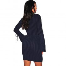 Navy Blue Ribbed Knit Mock Neck Lace Up Bell Sleeves Dress