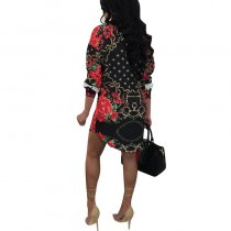 Turndown Collar Floral Print Mini Dress