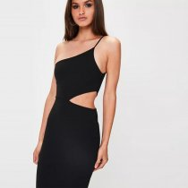 Black Cut Out One Shoulder Maxi Evening Dress