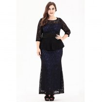 Plus Size Blue Lace Peplum Gown