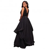 Malissa Black Ruffled Skirt Maxi Dress