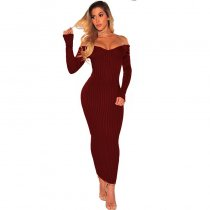 Wine Red Ribbed Knit Long Sleeves Dress
