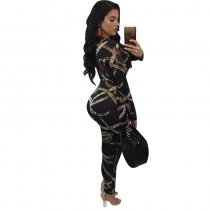 Sexy V Neck Printed Black Jumpsuits