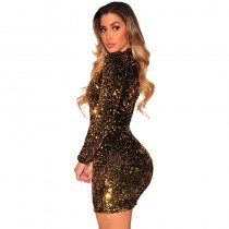 Gold Sequins Long Sleeves Dress