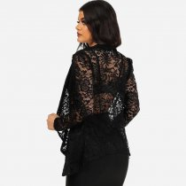 Black Lace Long Sleeve Open Blazer