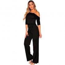 Black Off Shoulder Belted Palazzo Jumpsuit