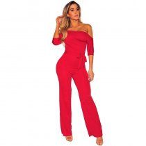 Red Off Shoulder Belted Palazzo Jumpsuit