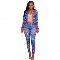 Soho Blue Multi-Color Floral Print Two Piece Set