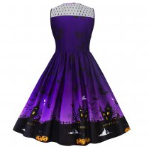 Halloween Lace Panel Dress - Purple