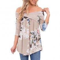 Sexy Off Shoulder Drape Floral 3/4 Sleeve Loose Casual Tops