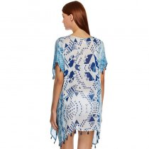 Chiffon Beach Cover up With Tassel Print