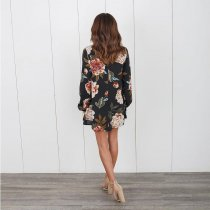 Sexy Floral Print Long Sleeve Choker V Neck Blouses Casual Tops