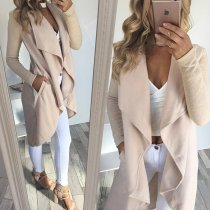 Womens Lapel Irregular Long Sleeves Sweater Jacket Solid Open Front Cardigans Coat