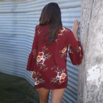 Floral Print Loose Puff Sleeve Kimono Cardigan Lace Patchwork Cover Up Blouse