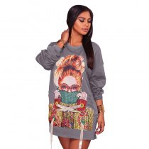 Stella Grey Sweater Graphic Dress