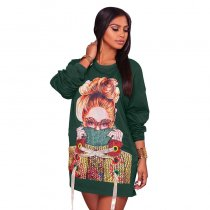 Stella Green Sweater Graphic Dress