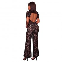 Gizi Black Lace Nude Illusion Jumpsuit