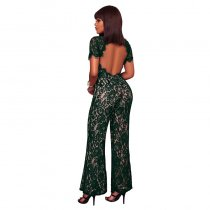 Gizi Green Lace Nude Illusion Jumpsuit