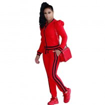 Leisure Round Neck Zipper Design Cotton Two-piece Pants Set