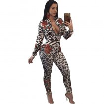 Brya Leopard Print Mix Floral Print Two Piece Set