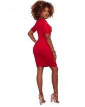 QUEEN Red Graphic Body-Con Dress