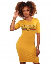 QUEEN Mustard Yellow Graphic Body-Con Dress