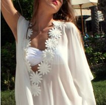 White Flowers Chiffon Maxi Dress