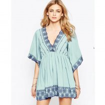 New Stock V-Neck Short Sleeve Slip Beach Dress