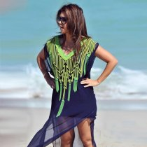 Chest Embroidered Loose Bikini Beach Blouse
