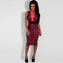Love Affair Pink And Black Lace Illusion Midi Dress