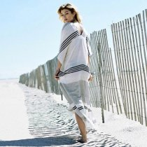 Striped Beach Caftan with Deep V-neck and Wide Armhole