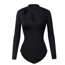 Black Long Sleeve Round Neck Bodysuit