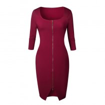 Solid Color Zipper Half Sleeve Knee-Length Bodycon Dress