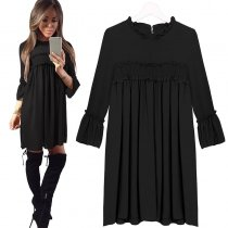Frill Neck Evening Party Casual Dress