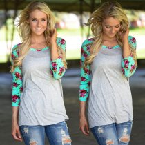 Floral Print Raglan Sleeve Grey Top