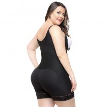 Adjustable Straps Lace Hem Body Shaper With Butt Lifter