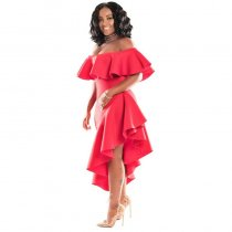 Red Ruffle Off The Shoulder Irregular Hem Maxi Dress