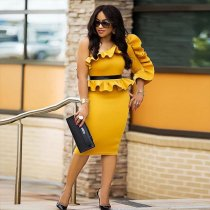 Ruffle One Sleeve Peplum Top Bodycon Dress