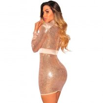 Rose Gold Sequins Nude Satin Trim Long Sleeves Dress