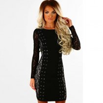 Beauty Within Black Lace Panel Lace Up Mini Dress